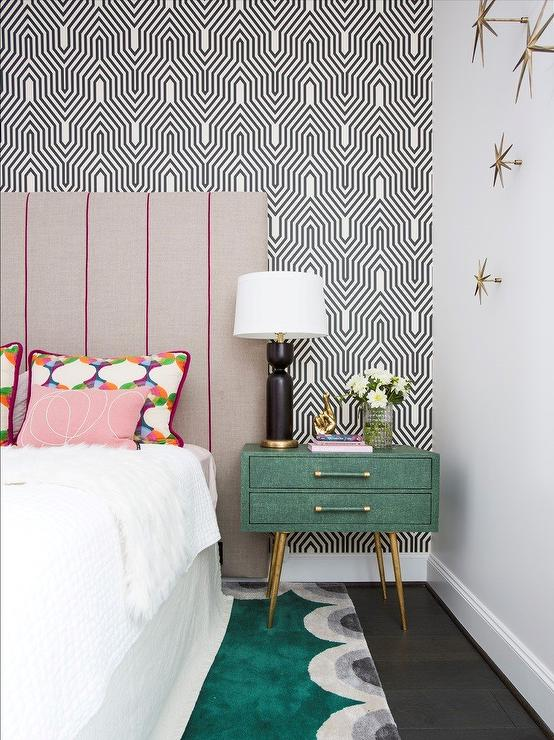 Green Fabric Nightstand Against Black and White Wall
