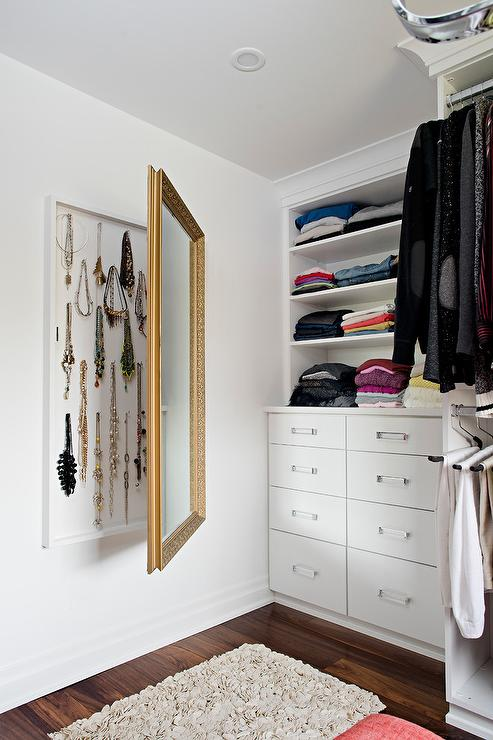 Hidden Jewelry Cabinet Behind Mirror Transitional Closet
