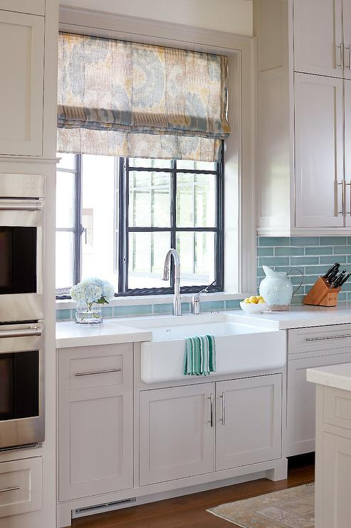Light Gray Cabinets With Linear Aqua Backsplash