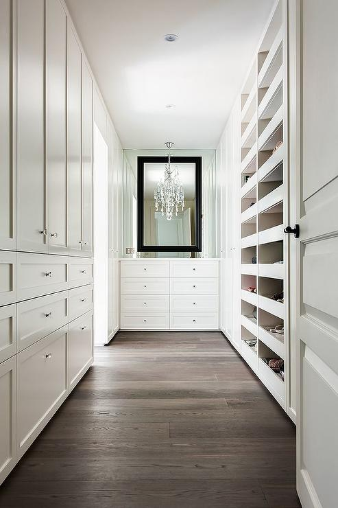 White Closet Dresser With Black Mirror Transitional Closet