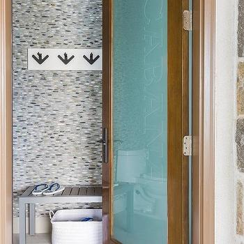 River Rock Tiled Wall in Pool Cabana & Frosted Glass Pool Cabana Door Design Ideas