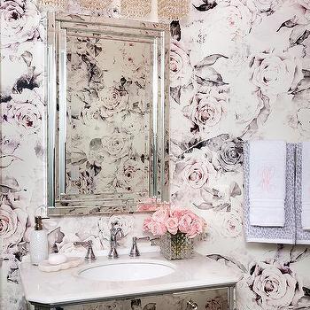 'Feminine Bathroom with Mirrored Sink Vanity' from the web at 'https://cdn.decorpad.com/photos/2017/07/26/m_girly-bathroom-pink-roses-wallpaper.jpg'