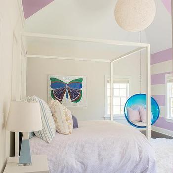 Purple Striped Walls In Girl Room