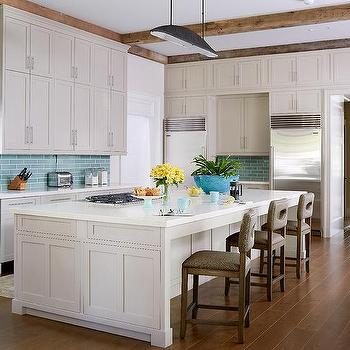 Aqua Tiles With Gray Cabinets