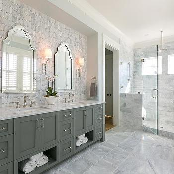 Vertical Gray Marble Tiles Transitional Bathroom