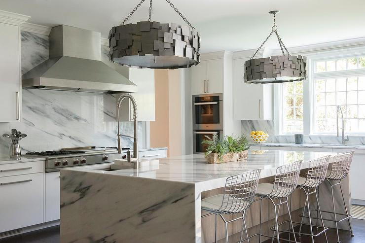 Marble Waterfall Island With Industrial Drum Light Pendants Contemporary Kitchen