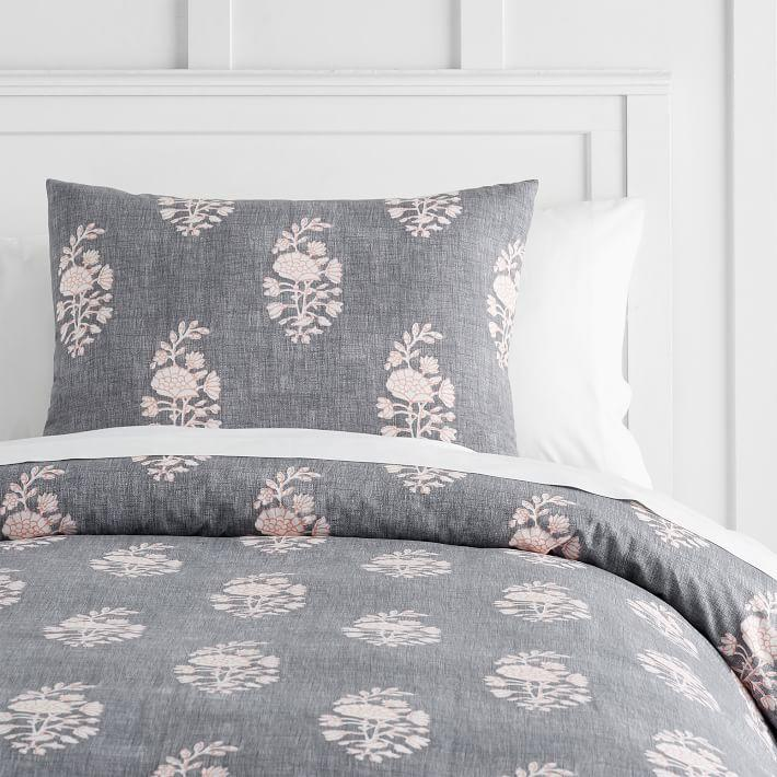 Gray White Floral Stripes Bedding