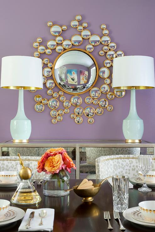 Purple Dining Room With Mirrored Buffet Cabinet