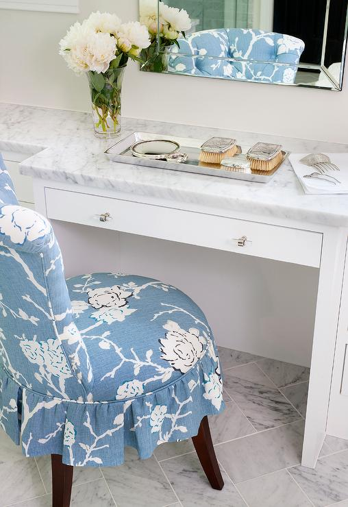 Blue Ruffled Vanity Chair - Transitional - Bathroom