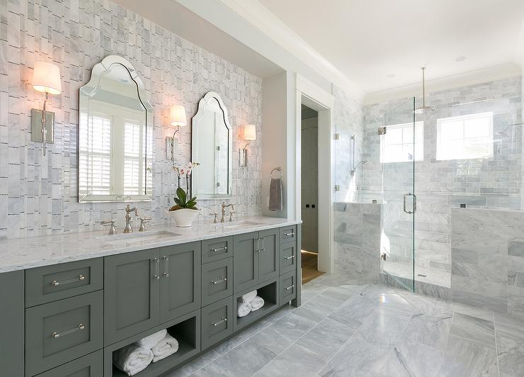 Vertical Gray Marble Tiles - Transitional - Bathroom ...