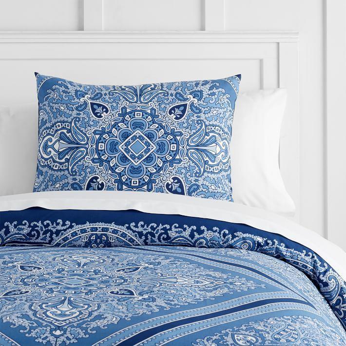 vintage blue white diamond bedding