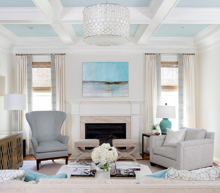 Exceptional Coffered Ceiling With Coffers Painted Sky Blue