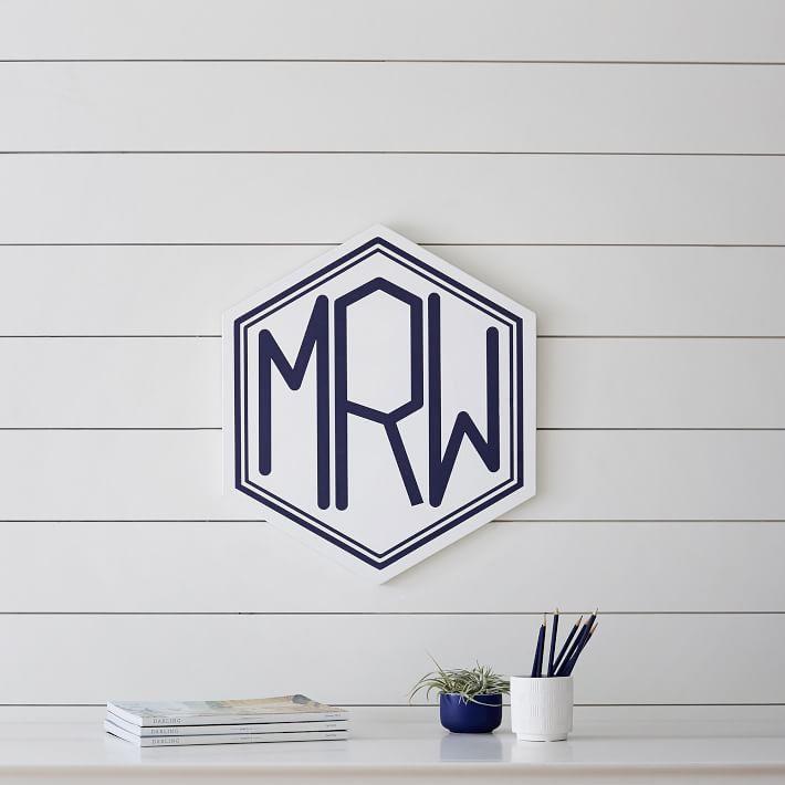 Wooden Hexagon Monogram Wall Decor