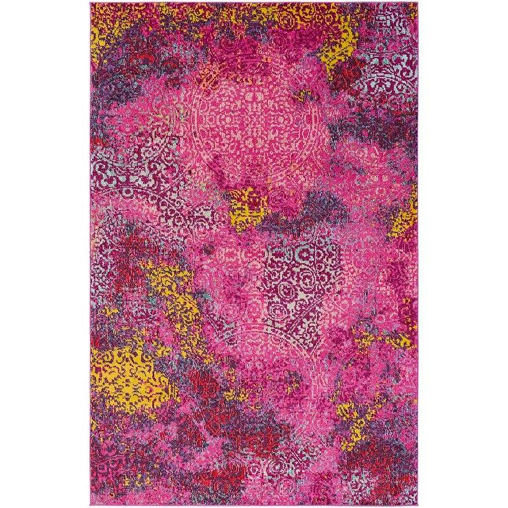 Abigail Butter Coral Lemon Kids Rug