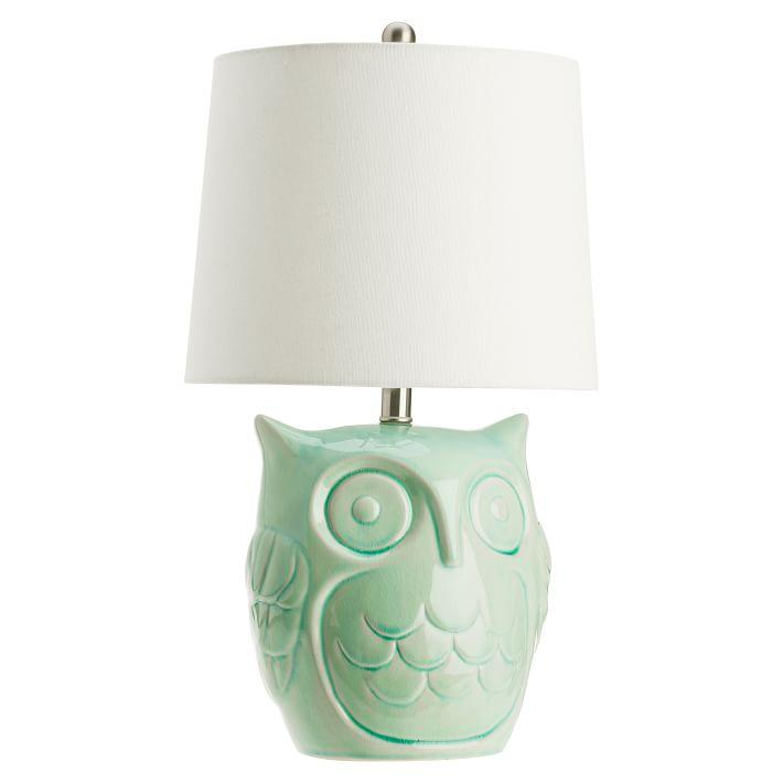 Green ceramic owl table lamp aloadofball