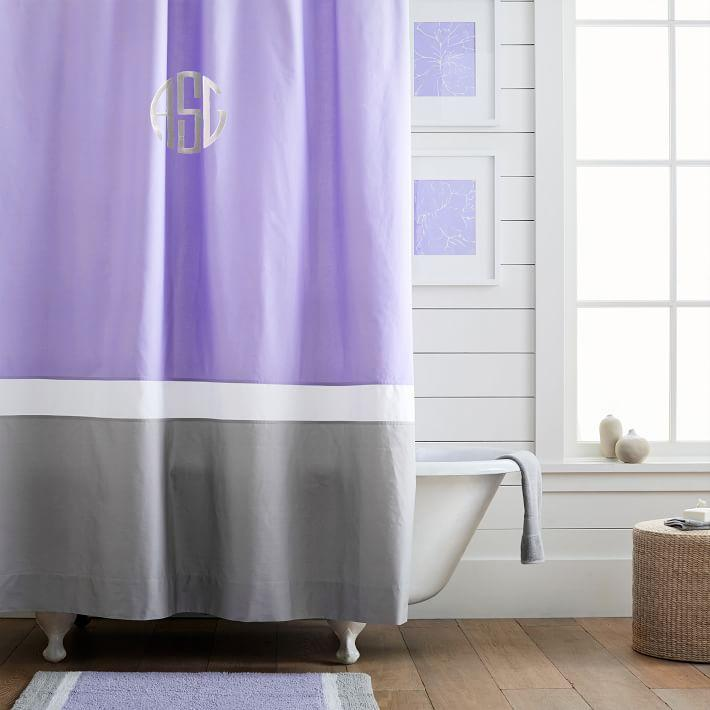 purple and gray shower curtain.  Color Block Lavender Shower Curtain
