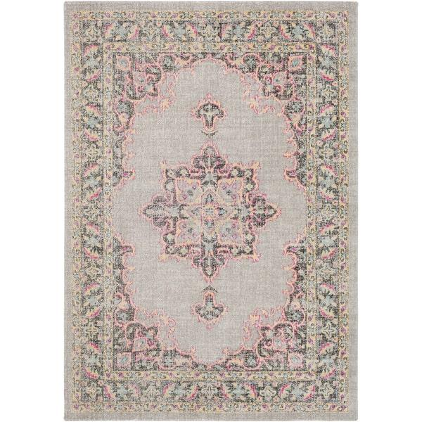 Traditional Persian Distressed Gray Pink Rug
