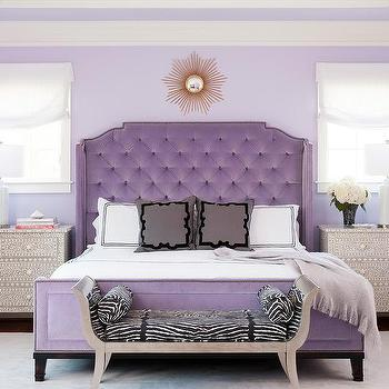 Purple French Velvet Bed Design Ideas