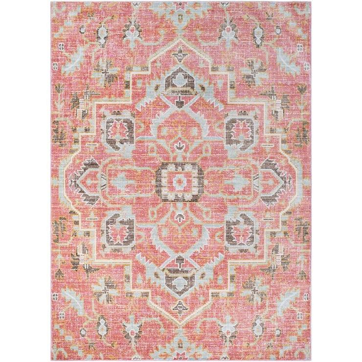 Super Hali House Distressed Persian Pale Pink Rug KW14