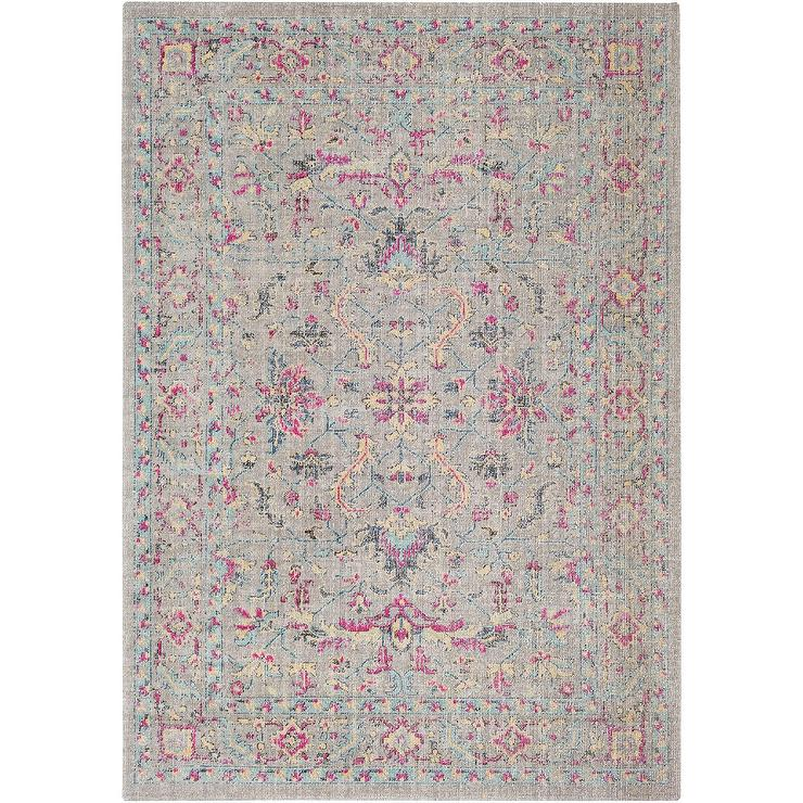 Persian Distressed Gray Pink Floral Rug