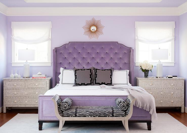 Purple French Velvet Tufted Bed With Bone Inlay Nightstands