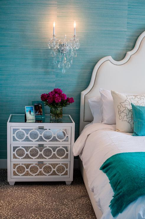 White Arch Headboard on Turquoise Blue Grasscloth Wall ...