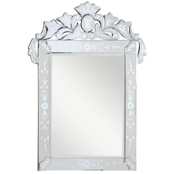 Somette Venetian Etched Fl Beveled Mirror