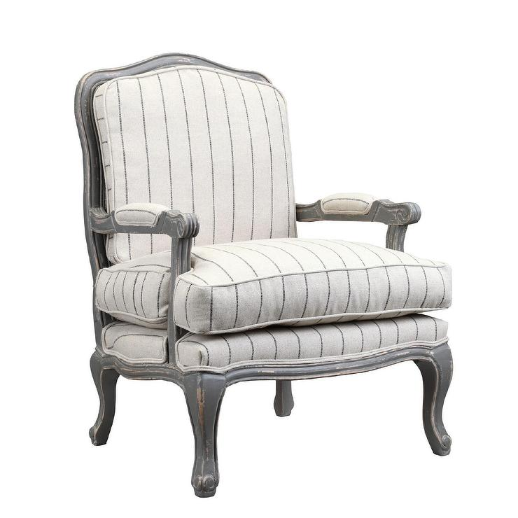 Orly Dhurrie Upholstered Ivory And Gray Chair