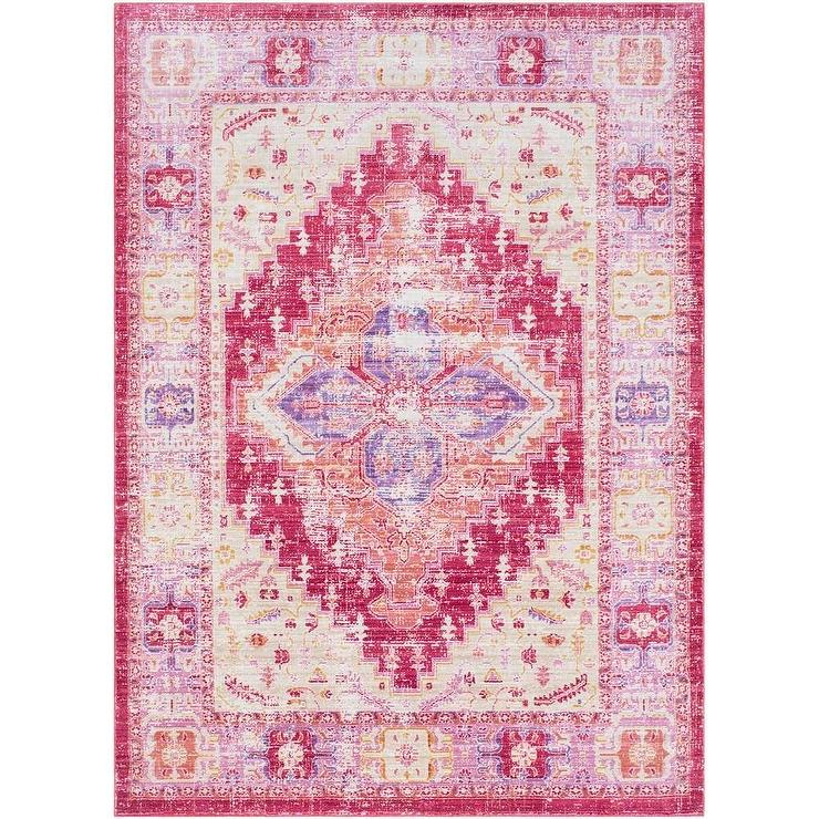 Relatively Hali House Faded Persian Purple Light Pink Rug YJ97
