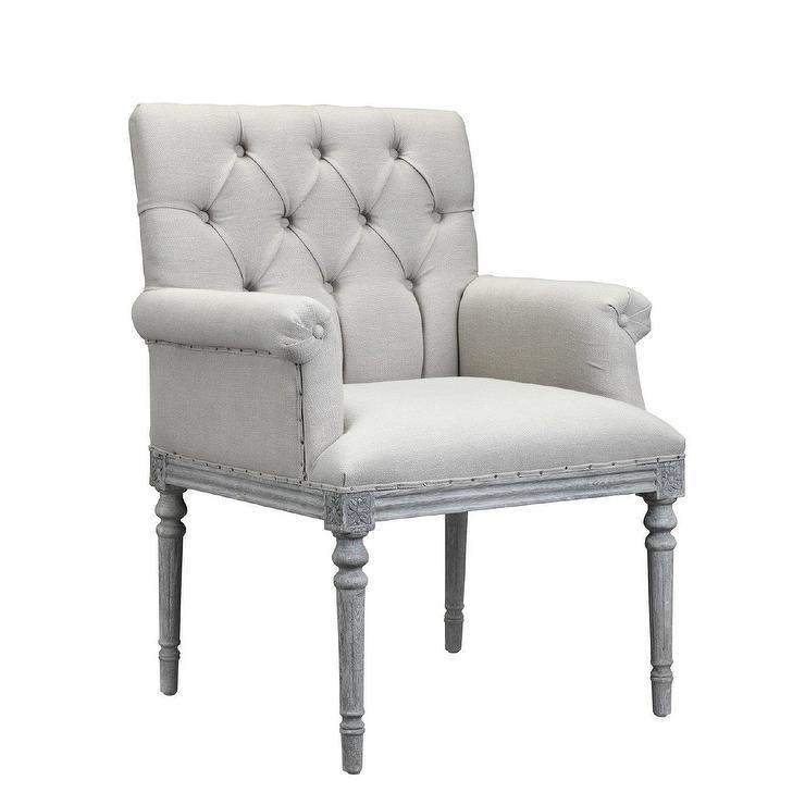 Keegan Gray Wood Linen Tufted Chair