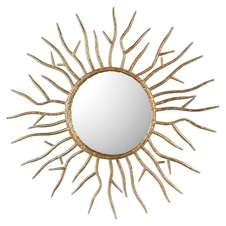 Round Golden Twig Wall Mirror