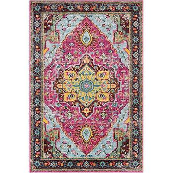 Traditional Persian Distressed Yellow Pink Rug
