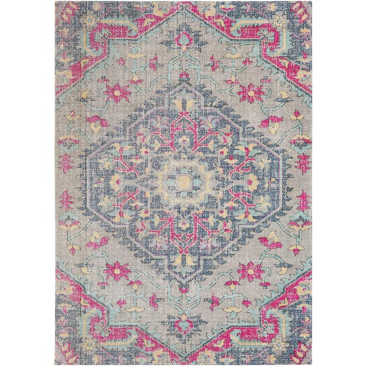 Persian Medallion Distressed Gray Pink Rug