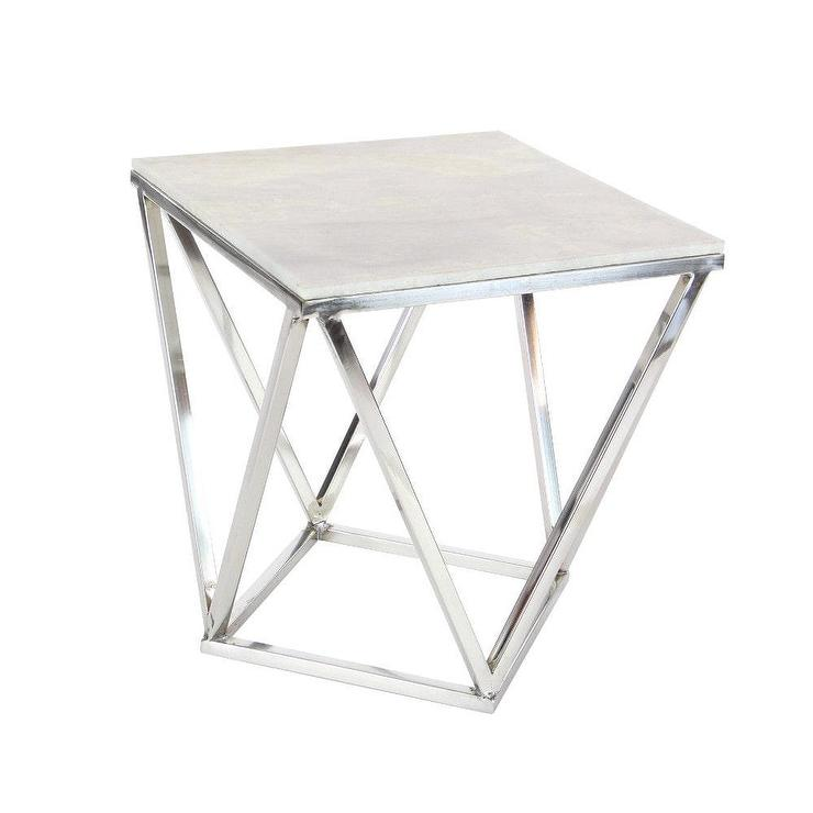 Benzara Swanky Marble Square Silver Table
