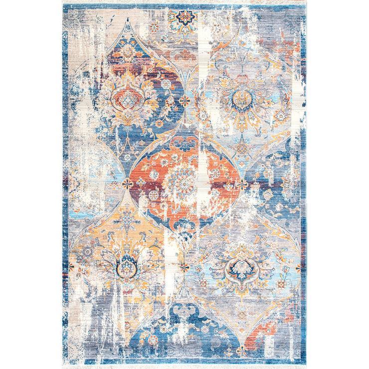 Traditional Vintage Orange Blue Floral Rug