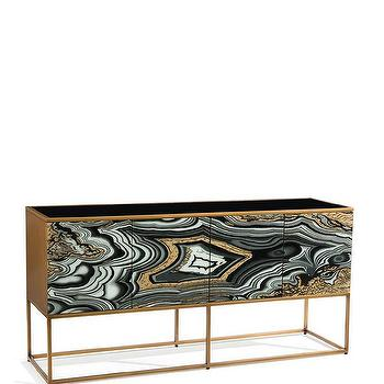Nicola Painted Gold Black Agate Console