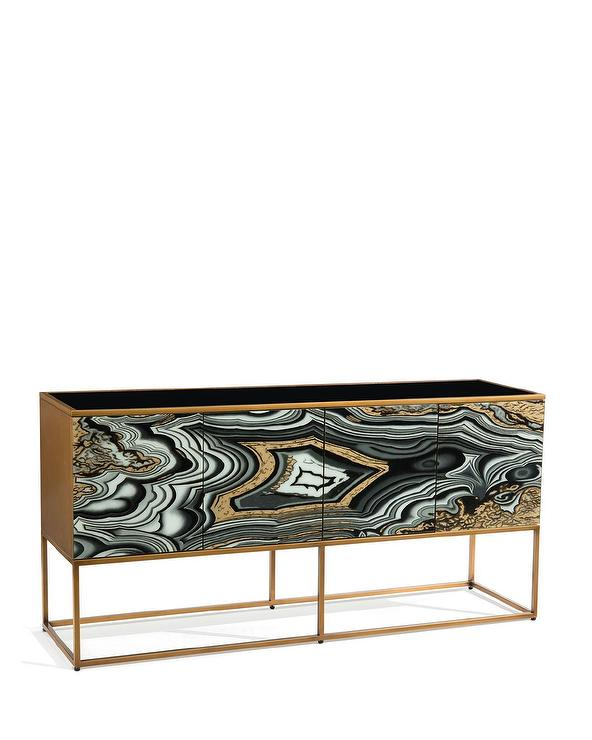 Black And Gold Deco Console Table