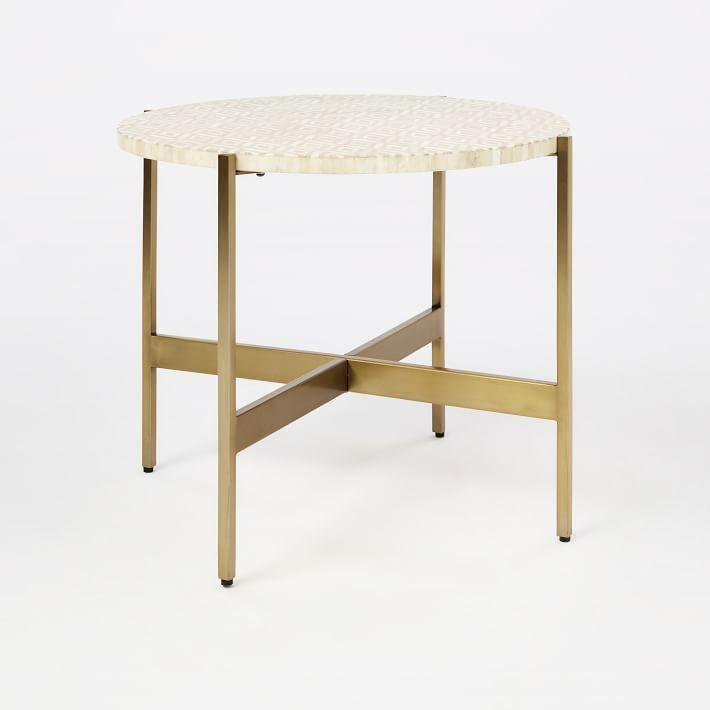 Round Bone Inlay Brass Side Table