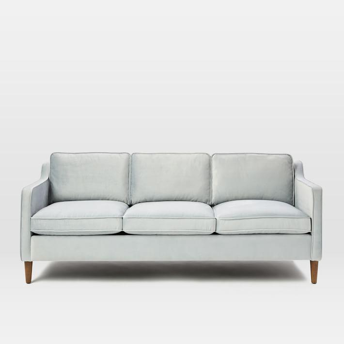 Hamilton Light Gray Velvet Sofa