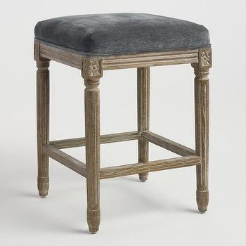 Erin Gold Grey Velvet Bar Chair Set
