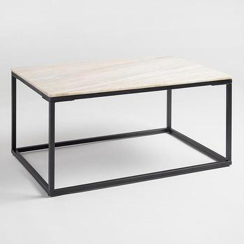 Knox White Marble Metal Coffee Table