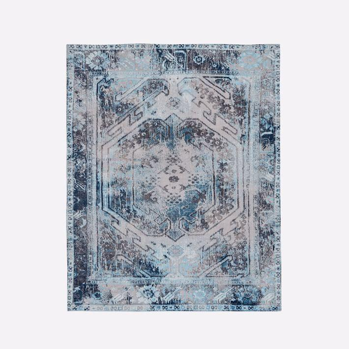 Phoenix Blue And Grey Wool Dhurrie Rug
