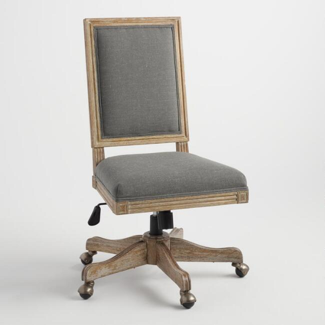 Paige Gray Linen Square Back Office Chair