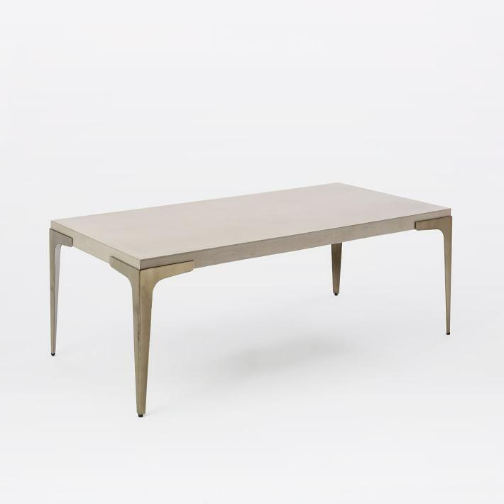 Rectangular Brass Concrete Coffee Table - Rectangular concrete coffee table