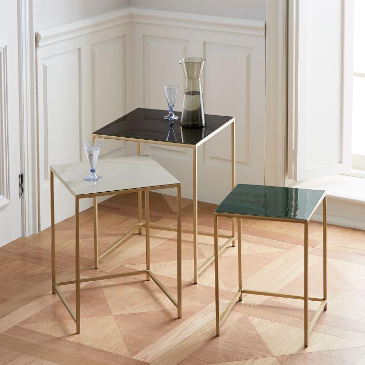 Square enamel brass 3 piece nesting tables watchthetrailerfo