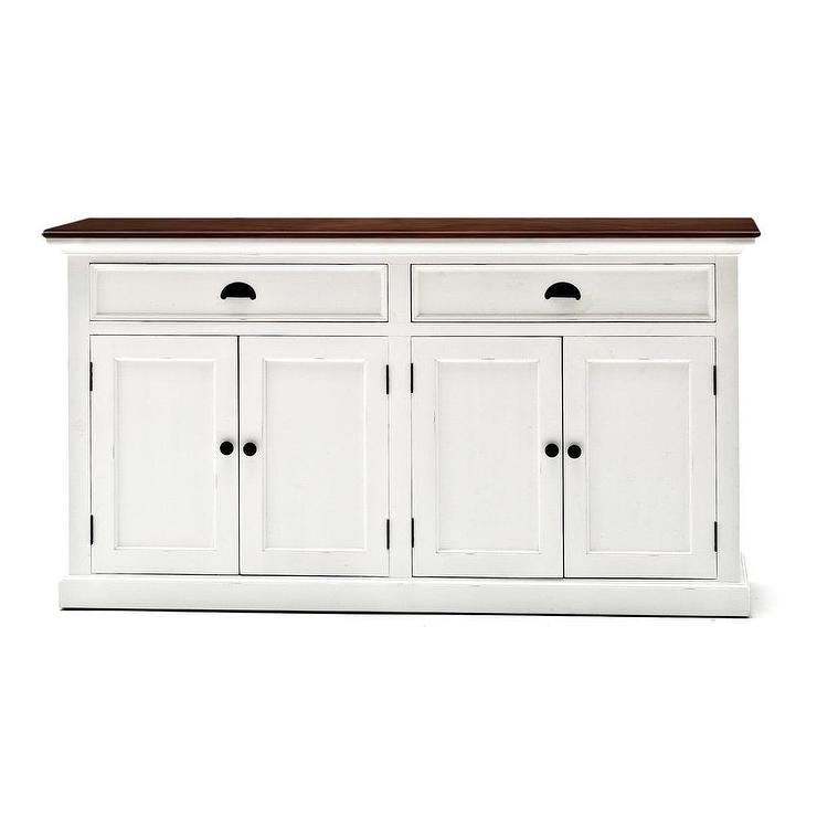 Halifax White Wood Buffet Table - Office buffet table