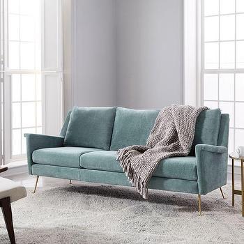 Carlo Mid Century Teal Velvet Sofa