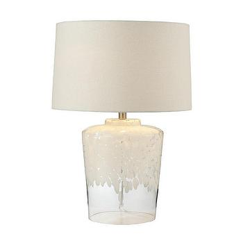 Tall Glass White Patterned Table Lamp