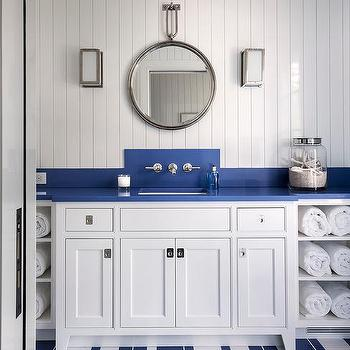 Blue Nautical Themed Kids Bathroom with Blue Trough Sink ... on southern living bathroom designs, tommy bahama bathroom designs, valentino bathroom designs, disney bathroom designs, restoration hardware bathroom designs, candice olson bathroom designs,
