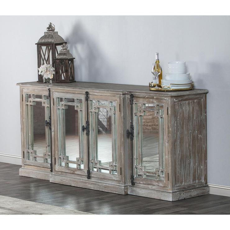 Beautiful Danielle Reclaimed Gray Wood Mirrored Sideboard AV21